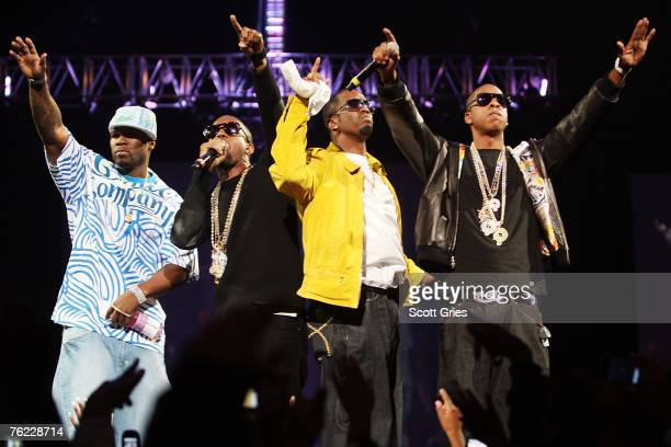 Rappers 50 Cent Kanye West P Diddy and Jay Z perform onstage during Screamfest '07 at Madison Square Garden on August 22 2007 in New York City