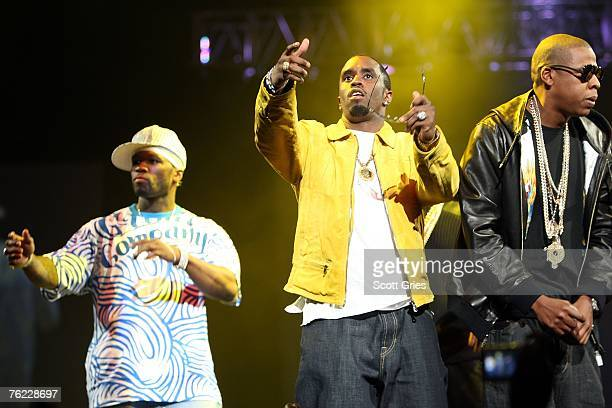 Rappers 50 Cent P Diddy and Jay Z perform onstage during Screamfest '07 at Madison Square Garden on August 22 2007 in New York City