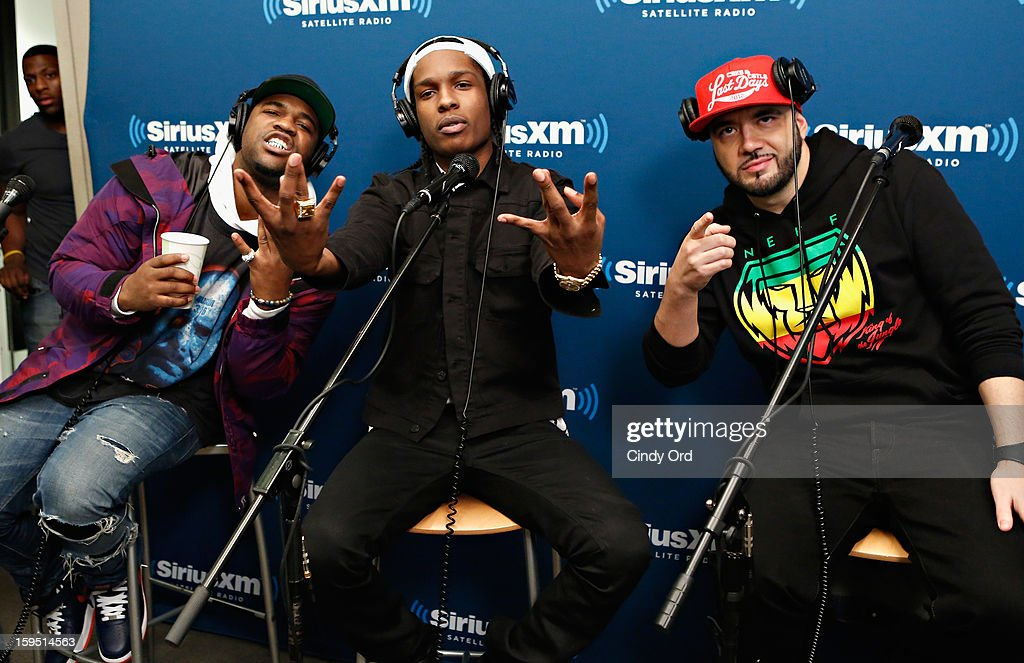 Rappers A$AP Ferg and A$AP Rocky pose with SiriusXM host DJ Green Lantern (R) at the A$AP Rocky Live Album Release Party on Hip-Hop Nation at SiriusXM Studios on January 14, 2013 in New York City.