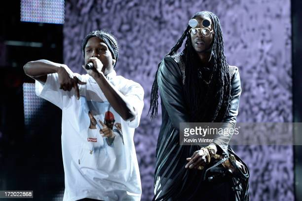 Rappers A$AP Rocky and 2 Chainz perform onstage during the 2013 BET Awards at Nokia Theatre LA Live on June 30 2013 in Los Angeles California