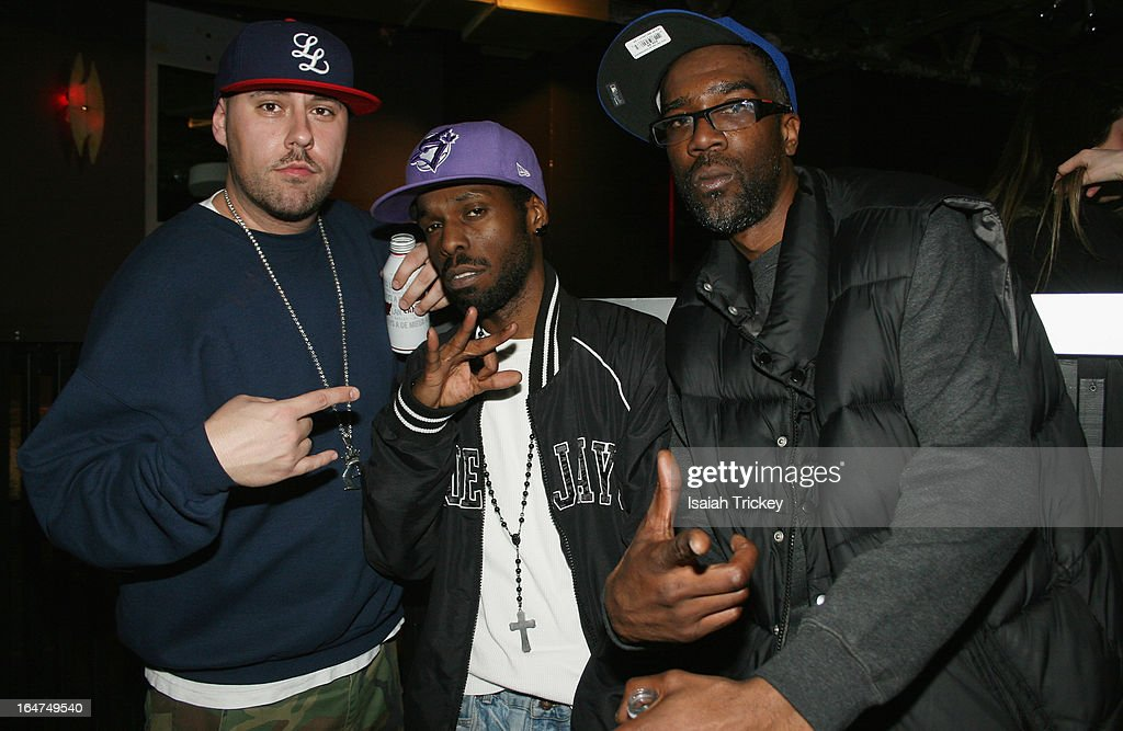 Rappers Adam Bomb,Tek-Man and T.R.A. attend the On The Radar showcase during Canadian Music Week at the Wreck Room on March 24, 2013 in Toronto, Canada.