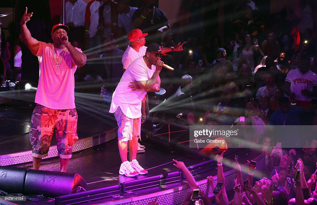 Rappers Ali, City Spud and Nelly of St. Lunatics perform at Drai's Beach Club - Nightclub at The Cromwell Las Vegas on June 25, 2016 in Las Vegas, Nevada.