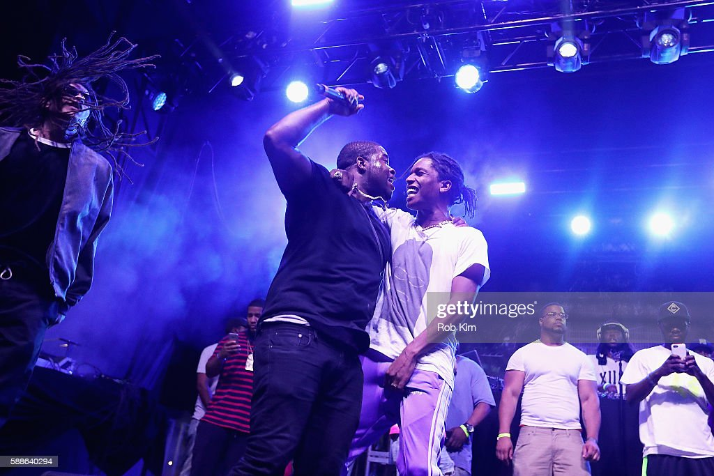 Rappers ASAP Ferg and ASAP Rocky perform onstage as BACARDI and Swizz Beatz' The Dean Collection present 'No Commission Art Performs' Day 1 on August...