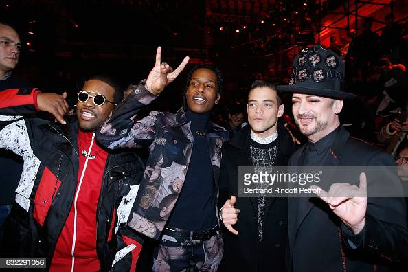 Rappers ASAP Ferg ASAP Rocky actor Rami Malek and singer Boy George attend the Dior Homme Menswear Fall/Winter 20172018 show as part of Paris Fashion...