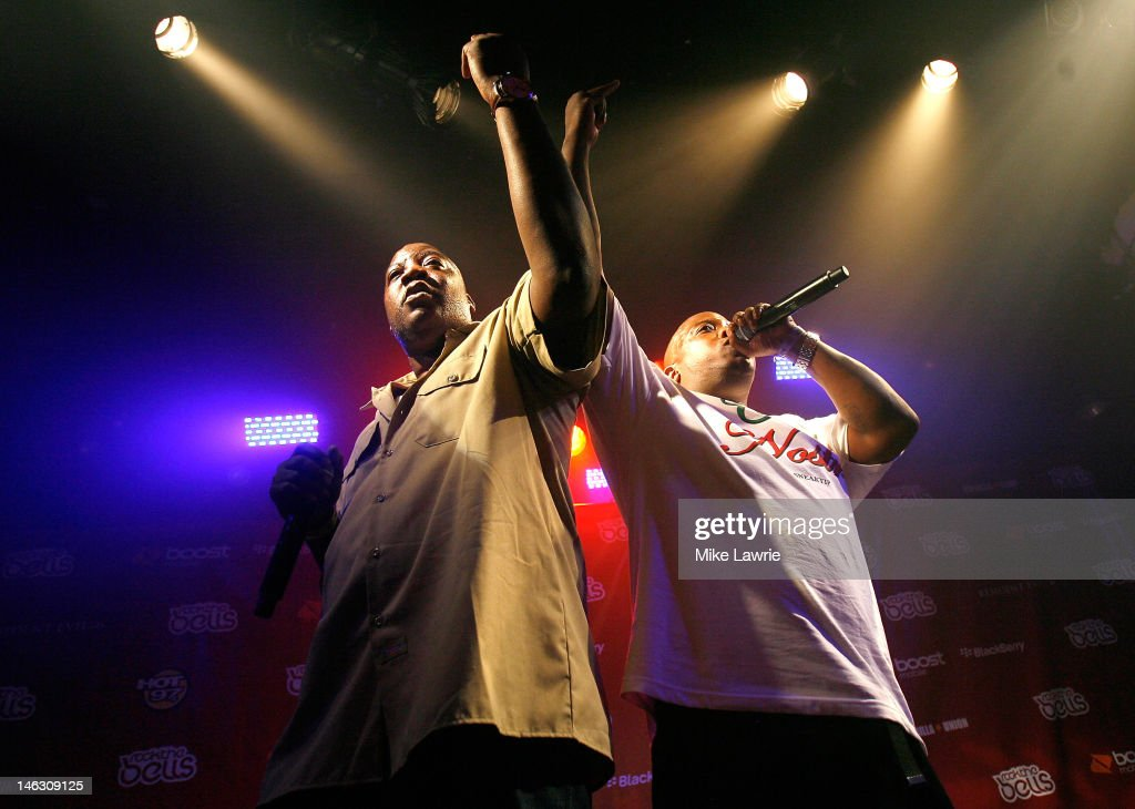 Rappers Billy Danze (L) and Lil' Fame of M.O.P. perform during the 2012 Rock the Bells Festival press conference and Fan Appreciation Party on at Santos Party House on June 13, 2012 in New York City.