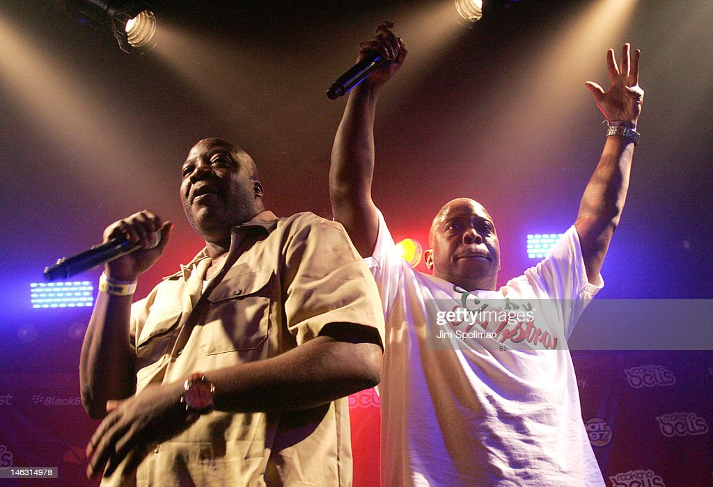 Rappers Billy Danze (L) and Lil' Fame of M.O.P. perform during the 2012 Rock The Bells Festival Press Conference And Fan Appreciation Party on June 13, 2012 in New York City.