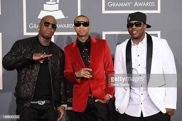 Rappers Birdman Tyga and Mack Maine arrive at The 54th Annual GRAMMY Awards at Staples Center on February 12 2012 in Los Angeles California