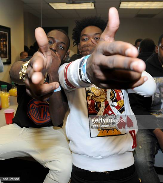 Rappers Bobby Shmurda and Offset of Migos pose backstage at Power 1051's Powerhouse 2014 at Barclays Center of Brooklyn on October 30 2014 in New...
