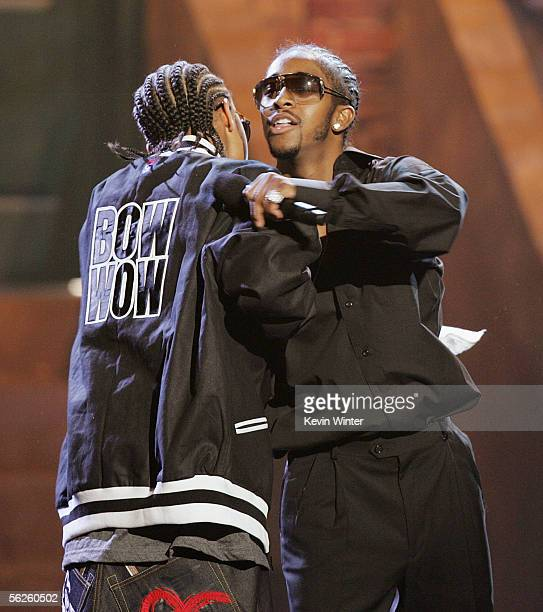 Rappers Bow Wow and Omarion perform onstage during the 2005 American Music Awards held at the Shrine Auditorium on November 22 2005 in Los Angeles...