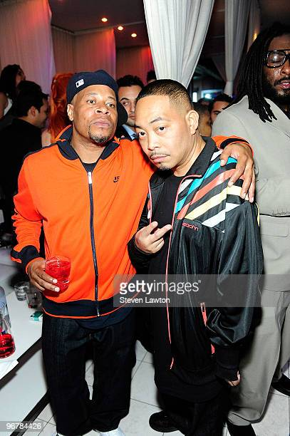 Rappers Brother Marquis and Fresh Kid Ice of The 2 Live Crew pose before they perform at Pure Nightclub on February 16 2010 in Las Vegas Nevada