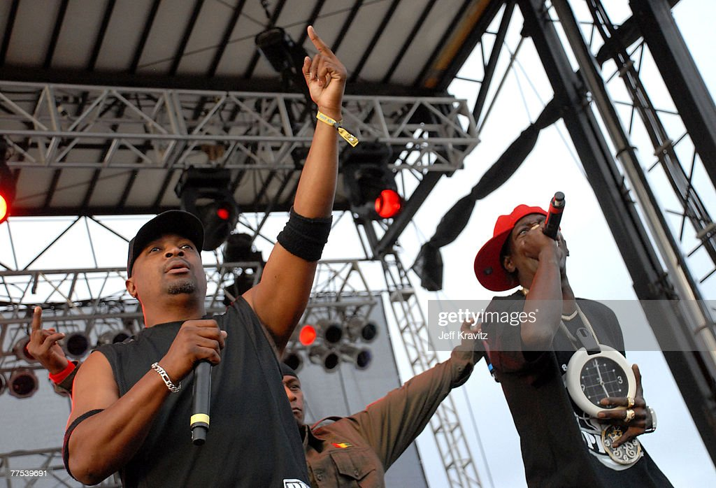Rappers Chuck D (L) and Flavor Flav from the rap group Public Enemy perform during the Vegoose Music Festival 2007 at Sam Boyd Stadium on October 27, 2007 in Las Vegas, Nevada.