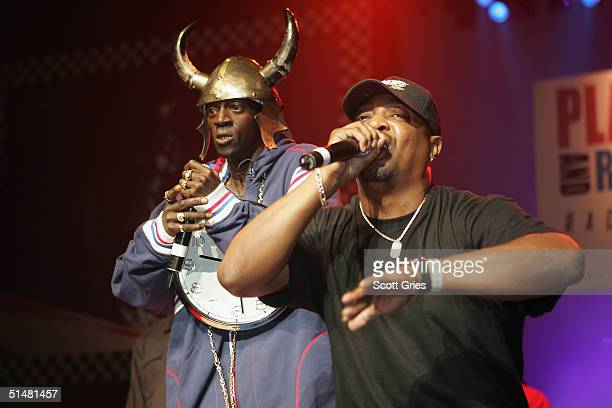 Rappers Chuck D and Flavor Flav of Public Enemy perform at the Playstation 2 And The HipHop Summit Present 'Race To The Polls' at Hammerstein...