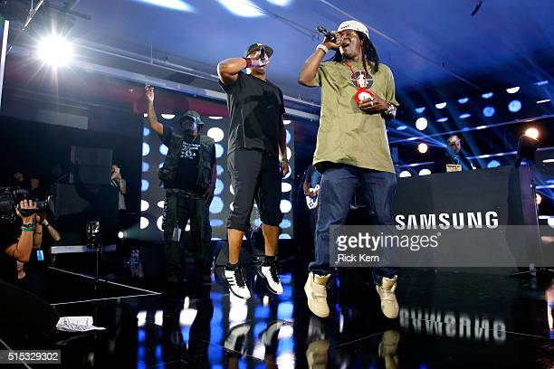 Rappers Chuck D and Flavor Flav of Public Enemy perform onstage at Samsung Galaxy Life Fest at SXSW 2016 on March 12 2016 in Austin Texas