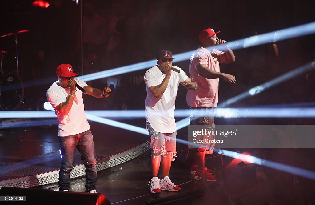 Rappers City Spud, Nelly and Ali of St. Lunatics perform at Drai's Beach Club - Nightclub at The Cromwell Las Vegas on June 25, 2016 in Las Vegas, Nevada.