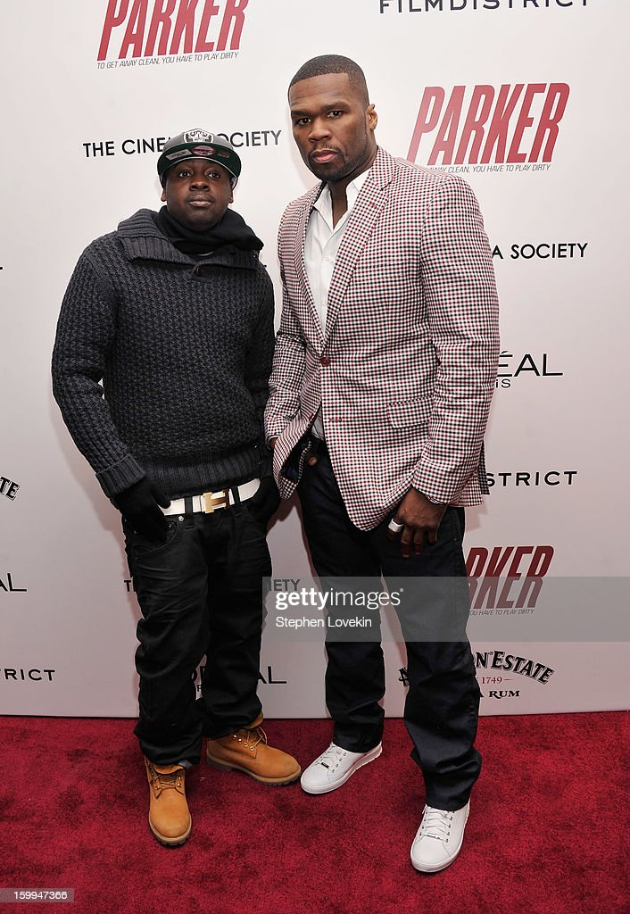 Rappers Curtis '50 Cent' Jackson and Kidd Kidd attend a screening of 'Parker' hosted by FilmDistrict, The Cinema Society, L'Oreal Paris and Appleton Estate at MOMA on January 23, 2013 in New York City.