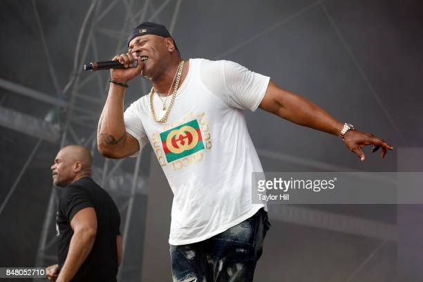 Rappers Darryl McDaniels and LL Cool J perform onstage during Day 2 at The Meadows Music Arts Festival at Citi Field on September 16 2017 in New York...