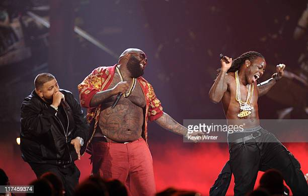 Rappers DJ Khaled Rick Ross and Ace Hood perform onstage during the BET Awards '11 held at the Shrine Auditorium on June 26 2011 in Los Angeles...