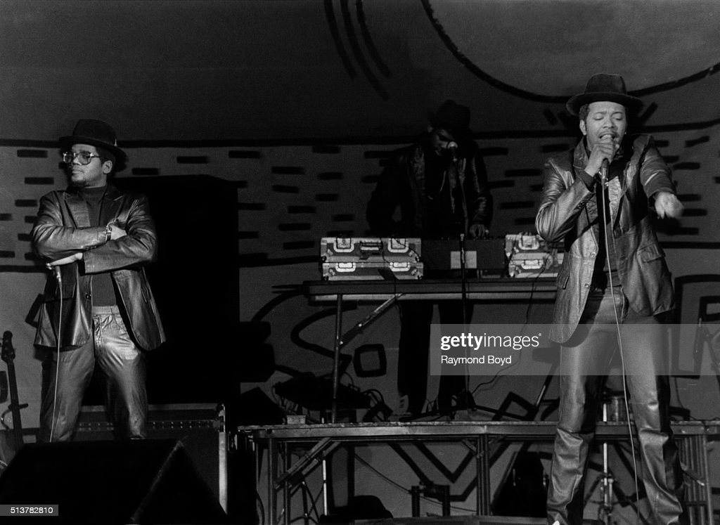 Rappers DMC Jam Master Jay and Run from Run DMC performs at the UIC Pavilion in Chicago Illinois in 1984
