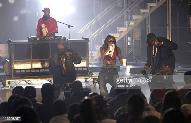 Rappers Dolla Boy Lil Wayne Tity Bo and DJ Brian Putman of Playaz Circle perform 'Duffle Bag Boy' during the BET Hip Hop Awards 2007 at the Atlanta...