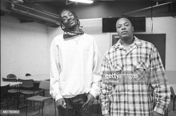 Rappers Dr Dre and Snoop Dogg backstage at the Source Awards which were held at Madison Square Garden on August 3 1995 in New York New York