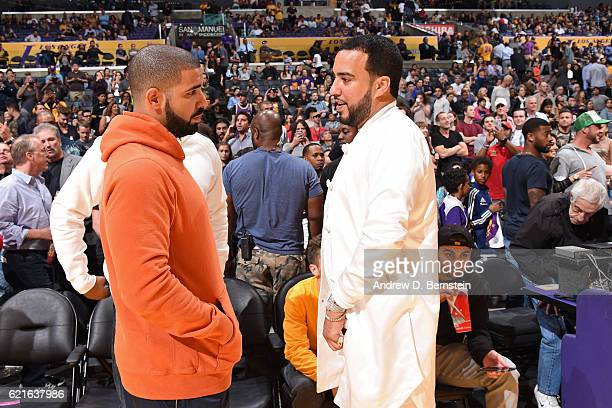 Rappers Drake and French Montana attend the Golden State Warriors game against the Los Angeles Lakers on November 4 2016 at STAPLES Center in Los...