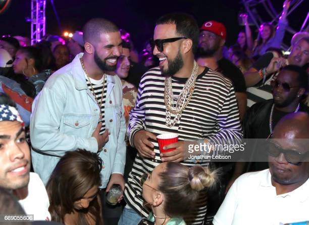 Rappers Drake and French Montana attend The Levi's Brand Presents NEON CARNIVAL with Tequila Don Julio on April 15 2017 in Thermal California