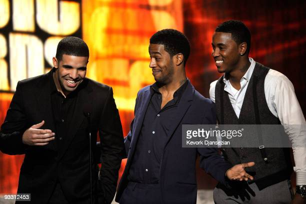 Rappers Drake Kid Cudi and Jeremih speak onstage at the 2009 American Music Awards at Nokia Theatre LA Live on November 22 2009 in Los Angeles...