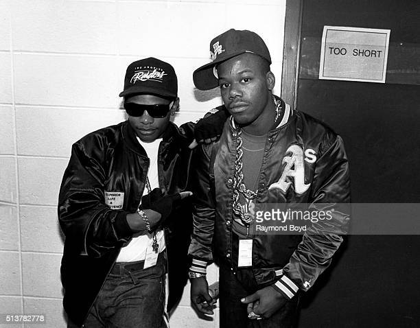 Rappers EazyE and Too Short poses for photos backstage at Market Square Arena in Indianapolis Indiana in 1991