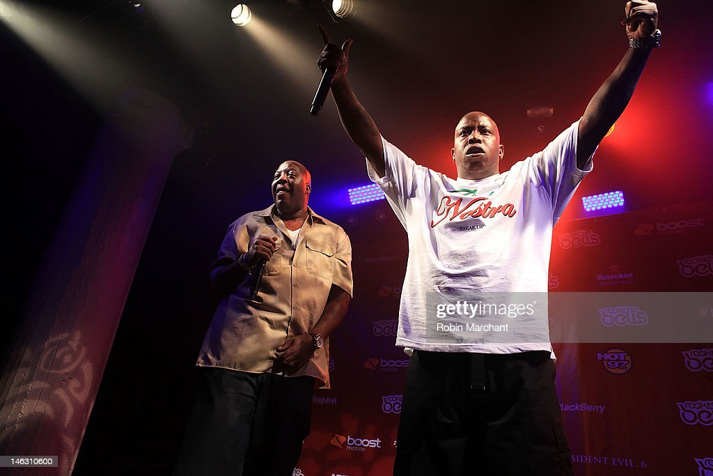 Rappers Eric 'Billy Danze' Murray (L) and Jamal 'Lil Fame' Grinnage of M.O.P. perform at the 2012 Rock the Bells Festival press conference and fan appreciation party at Santos Party House on June 13, 2012 in New York City.