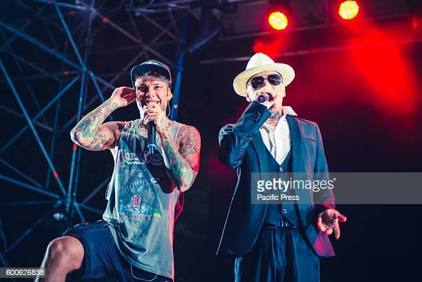 NORD MONCALIERI TORINO ITALY Rappers Fedez and JAx performing live at the Ritmika Festival 2016 in Moncalieri near Turin Federico Leonardo Lucia...