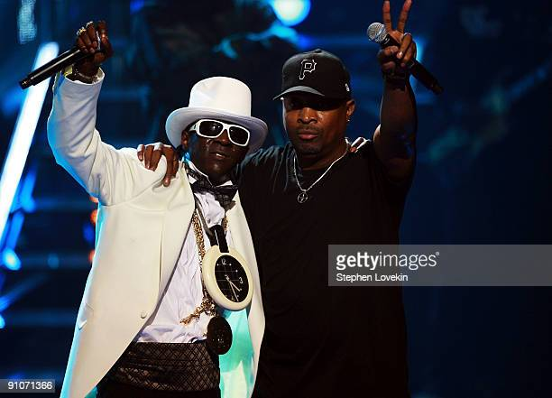 Rappers Flavor Flav and Chuck D of Public Enemy perform onstage at the 2009 VH1 Hip Hop Honors at the Brooklyn Academy of Music on September 23 2009...
