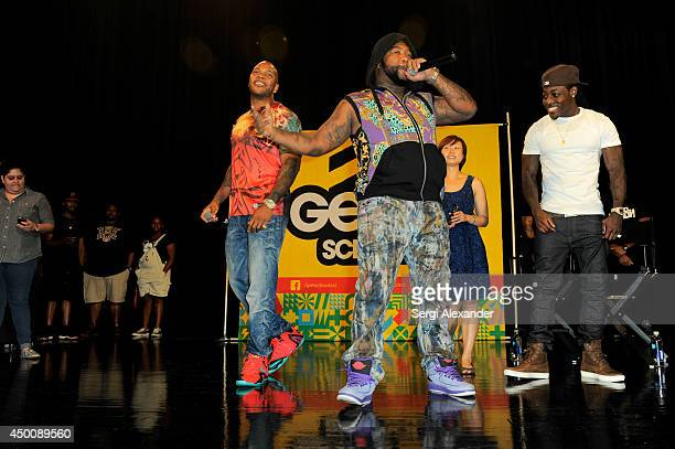 Rappers Flo Rida Gorilla Zoe and Ace Hood seen as rapper Flo Rida joins Get Schooled Foundation as celebrity principal for a day at Miami Edison...