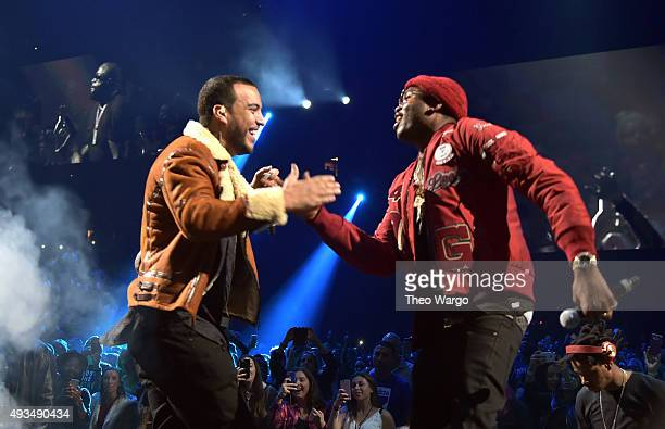 Rappers French Montana and Meek Mill perform onstage during TIDAL X 1020 Amplified by HTC at Barclays Center of Brooklyn on October 20 2015 in New...