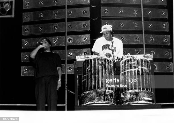 Rappers Ice Cube and Dr Dre from NWA performs at Kemper Arena in Kansas City Missouri in 1989