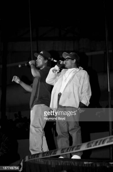 Rappers Ice Cube and EazyE from NWA performs during the 'Straight Outta Compton' tour at Kemper Arena in Kansas City Missouri in 1989