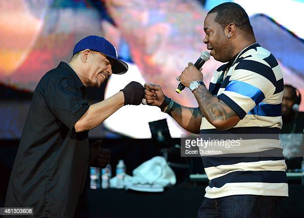 Rappers IceT and Busta Rhymes perform onstage at Irvine Meadows Amphitheatre on July 18 2015 in Irvine California