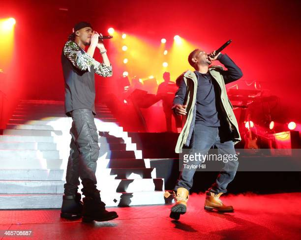 Rappers J Cole and Kendrick Lamar perform at Madison Square Garden on January 28 2014 in New York City