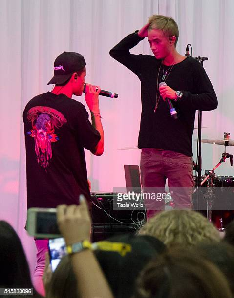 Rappers Jack Gilinsky and Jack Johnson of the music group Jack Jack perform onstage at the 4th Annual Beautycon Festival Los Angeles at the Los...
