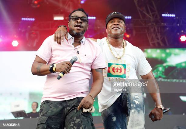 Rappers Jarobi White of A Tribe Called Quest and LL Cool J perform onstage during Day 2 at The Meadows Music Arts Festival at Citi Field on September...