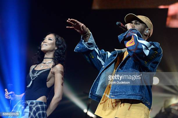 Rappers Jhene Aiko and Big Sean perform onstage at the Power 106 Powerhouse show at Honda Center on June 3 2016 in Anaheim California