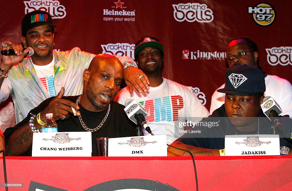 Rappers Jim Jones (L) and <a gi-track='captionPersonalityLinkClicked' href=/galleries/search?phrase=DMX&family=editorial&specificpeople=211365 ng-click='$event.stopPropagation()'>DMX</a> (2nd L) speak as Jadakiss looks on during the 2012 Rock the Bells Festival press conference and Fan Appreciation Party on at Santos Party House on June 13, 2012 in New York City.