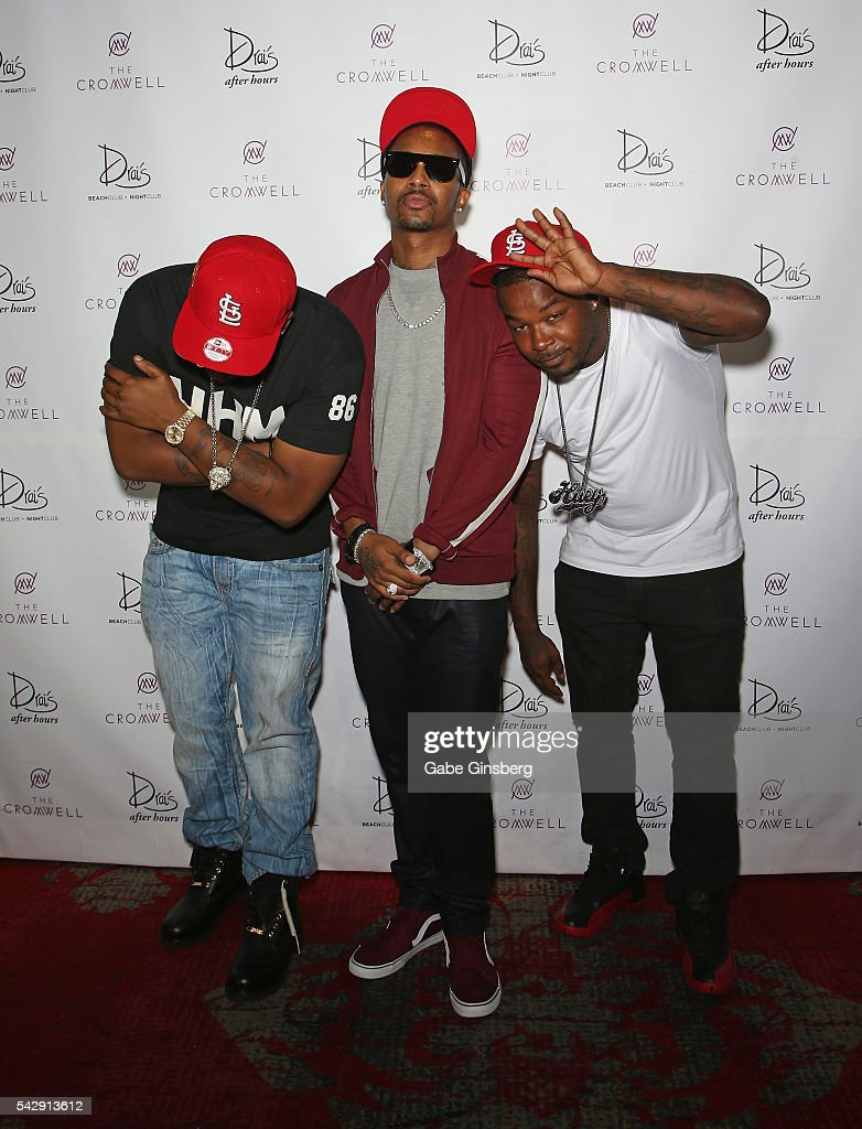 Rappers <a gi-track='captionPersonalityLinkClicked' href=/galleries/search?phrase=J-Kwon&family=editorial&specificpeople=217506 ng-click='$event.stopPropagation()'>J-Kwon</a>, <a gi-track='captionPersonalityLinkClicked' href=/galleries/search?phrase=Chingy&family=editorial&specificpeople=204609 ng-click='$event.stopPropagation()'>Chingy</a> and City Spud arrive at Drai's Beach Club - Nightclub at The Cromwell Las Vegas on June 25, 2016 in Las Vegas, Nevada.
