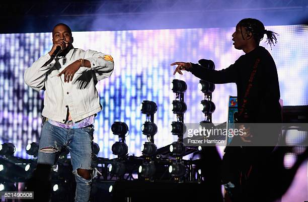 Rappers Kanye West and A$AP Rocky perform onstage during day 1 of the 2016 Coachella Valley Music Arts Festival Weekend 1 at the Empire Polo Club on...