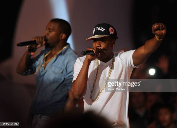 Rappers Kanye West and JayZ perform onstage during the 2011 MTV Video Music Awards at Nokia Theatre LA LIVE on August 28 2011 in Los Angeles...