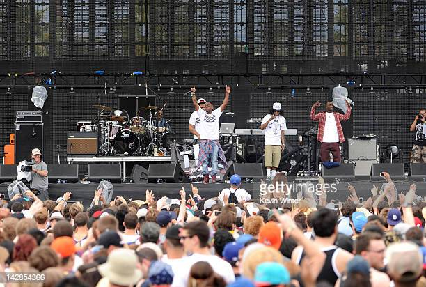 Rappers Kendrick Lamar AbSoul and Jay Rock of Black Hippy perform onstage during day 1 of the 2012 Coachella Valley Music Arts Festival at the Empire...