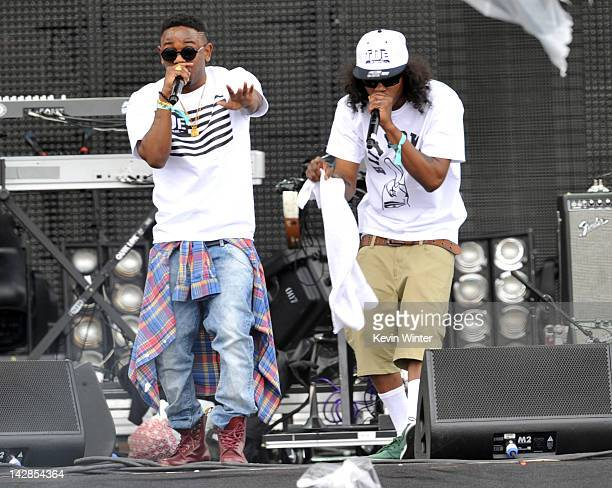 Rappers Kendrick Lamar and AbSoul of Black Hippy perform onstage during day 1 of the 2012 Coachella Valley Music Arts Festival at the Empire Polo...
