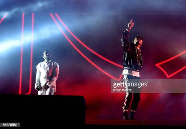 Rappers Kendrick Lamar and Future perform on the Coachella Stage during day 3 of the Coachella Valley Music And Arts Festival at the Empire Polo Club...