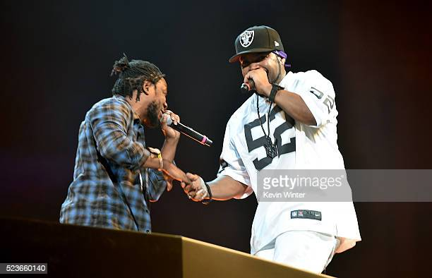 Rappers Kendrick Lamar and Ice Cube perform onstage during day 2 of the 2016 Coachella Valley Music Arts Festival Weekend 2 at the Empire Polo Club...