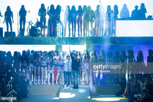 Rappers Kool Shen and Joey Starr perform during the Etam show as part of the Paris Fashion Week Womenswear Spring/Summer 2018 on September 26 2017 in...