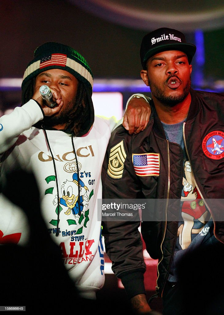 Rappers Like and Mibbs of the rap group Pac Div performs at the Hard Rock Cafe on December 22, 2012 in Las Vegas, Nevada.